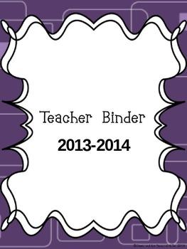 2013-2014 Teacher Binder- Purple Owl theme