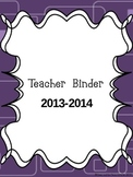 2013-2014 Teacher Binder- Purple Owl theme