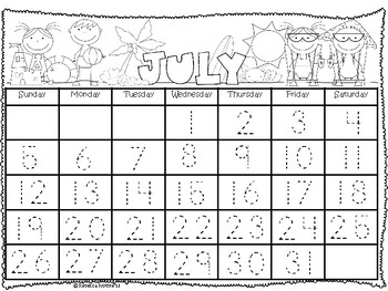 2018-2019 Aug.- July Traceable Calendar