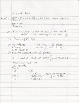 2013 AP FRQ Calculus AB Solutions