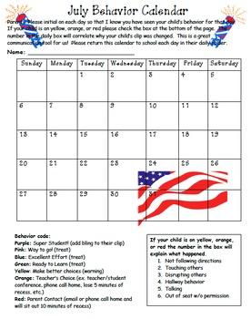 2013 Behavior Calendars