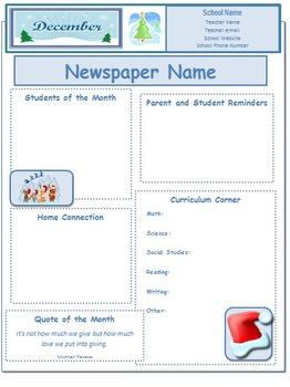 2013 December Classroom Newsletter Template
