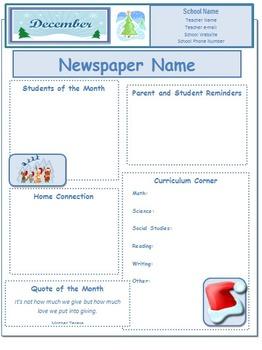 2013 December Classroom Newsletter Template