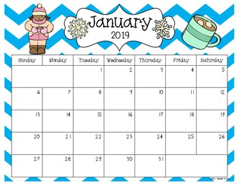 2018 and 2019 editable calendar pdf version by sarah kirby tpt