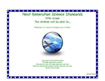 "5th Fifth Grade ""Able to"" Next Generation Science Standard"