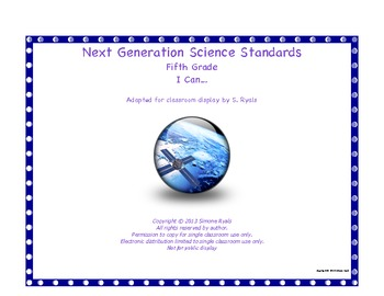 "5th Fifth Grade ""I Can"" Printable Next Generation Science Standards NGSS Posters"