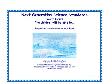 4th Fourth Grade Able to Printable Next Generation Science Standards NGSS