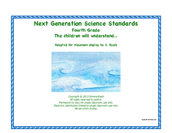 """4th Fourth Grade """"Understand""""  Next Generation Science Standards NGSS Posters"""