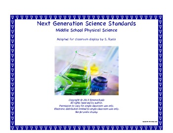 Middle School MS Next Generation PHYSICAL SCIENCE Standards NGSS Posters