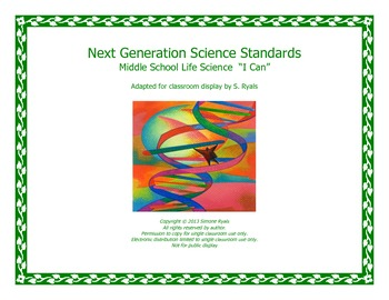 Middle School MS I CAN Next Generation LIFE Science Standards NGSS Posters