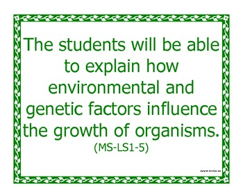 Middle School MS Printable Next Generation LIFE Science Standards NGSS Posters
