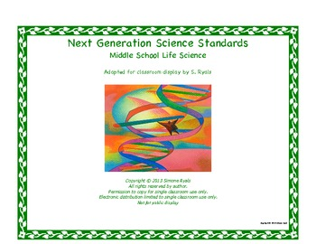 Middle School MS Printable Next Generation LIFE Science St