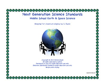 Middle School  Next Generation EARTH SPACE Science Standards NGSS Posters