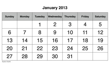 2013 Monthly Bulletin Board Calendars with Clip Art