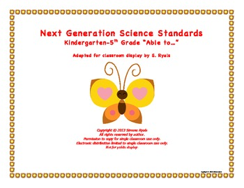 "NGSS Elementary K-5th ""Able to"" Next Generation Science Standards Posters Combo"