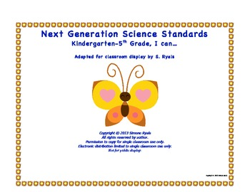 NGSS Elementary K-5th Grade I CAN Next Generation Science