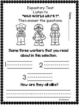 Reading Street, Who Works Here? Centers and Printables For All Ability Levels