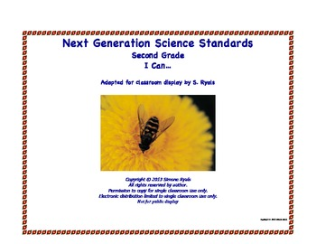 2nd Second Grade I Can Printable Next Generation Science Standards NGSS Posters