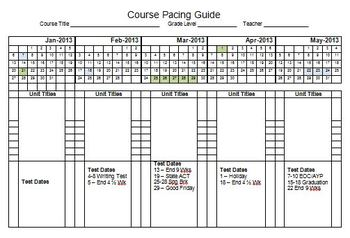 pacing calendar template for teachers - 2013 semester pacing guide template file freebie by