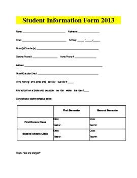 2013 Student Information Form