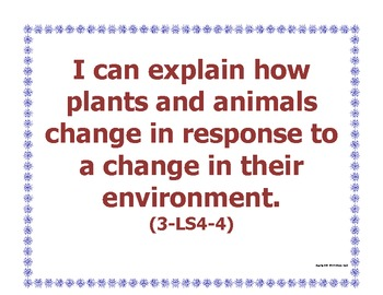 """3rd Third Grade """"I Can"""" Printable Next Generation Science Standards NGSS Posters"""