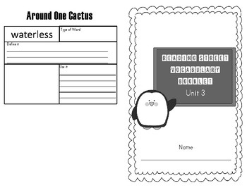 2013 Third Grade Reading Street Vocabulary Booklet Unit 3