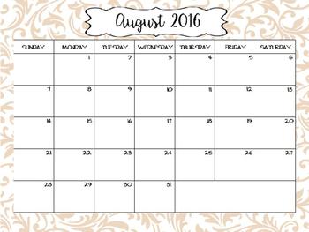 2016- 2017 Calendar {FREEBIE}