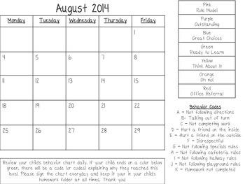 2015 - 2016 Behavior Calendars