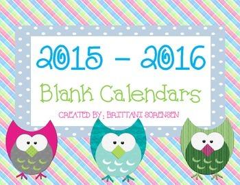 2015-16 Blank Calendars: Track Reading, Class Events, Parent Volunteers, etc.