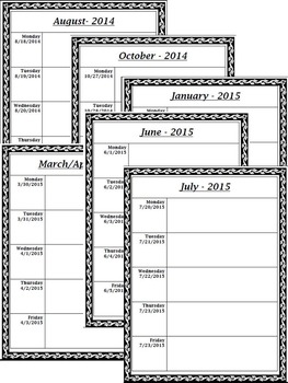 2016 -17 Monthly Calendars/Weekly Planning Maps (Vine Theme)!