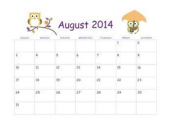 2014-15 Owl Calendar