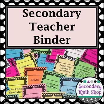 Teacher Binder - 2016  - 17 Secondary - Black and White Dot