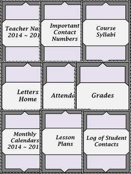 "Teacher Binder - 2016 -17 Secondary  -""Vine"" Black/Gray Theme"
