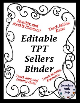 TPT Seller Binder - 2015  - 16  - Organization, Tracking, Planning and More!