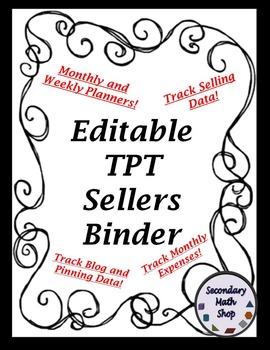 TPT Seller Binder - 2015  - 16  - Organization, Tracking,