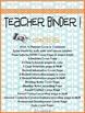 2014-15 Teacher Organization Binder ... Outstanding Design