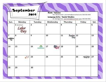 2014-2015 Calendar (Editable)