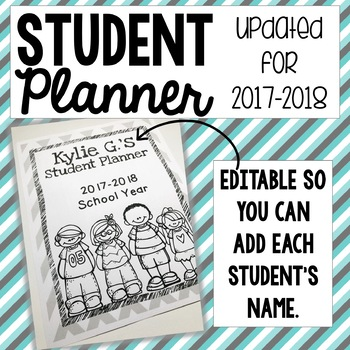 2017 - 2018 Student Planner with Editable Pages