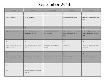 2014 - 2015 3rd and 4th Grade Daily Writing Prompt Calendar Full Year