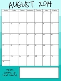2014-2015 Academic Calendar in Blue Ombre - Vertical Pages