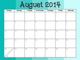 2014-2015 Academic Calendar in Ombre Aqua