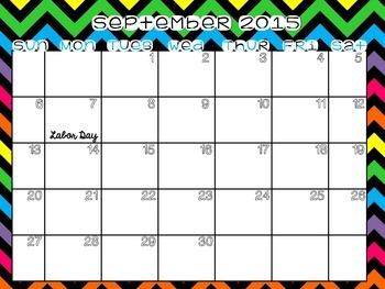 2015-2016 Academic Year Printable Calendar (GLOW STICKS Design)