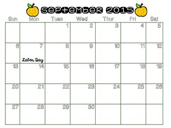 2015-2016 Academic Year Printable Calendar (White Background with Graphics)
