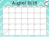 2014-2015 Aqua Chevron Academic Calendar with Spartan Helmet