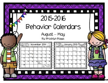 2015-2016 Behavior Calendars