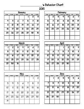 2014-2015 Behavior chart Calendar