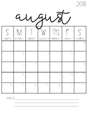 2018-2019 Blank Calendars {FREEBIE!}