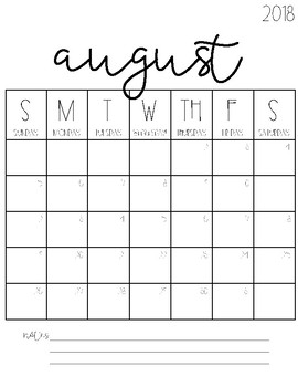2019 Blank Calendars 2018 2019 Blank Calendars FREEBIE! by Tami Teaches   Tami Lynn