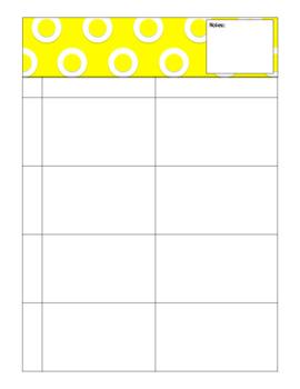 2014 - 2015 Blank Curriculum Calendar