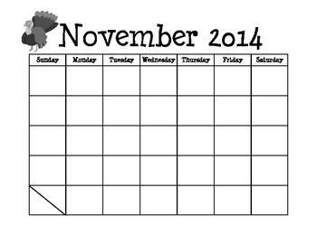 2014-2015 Blank Student Calendar
